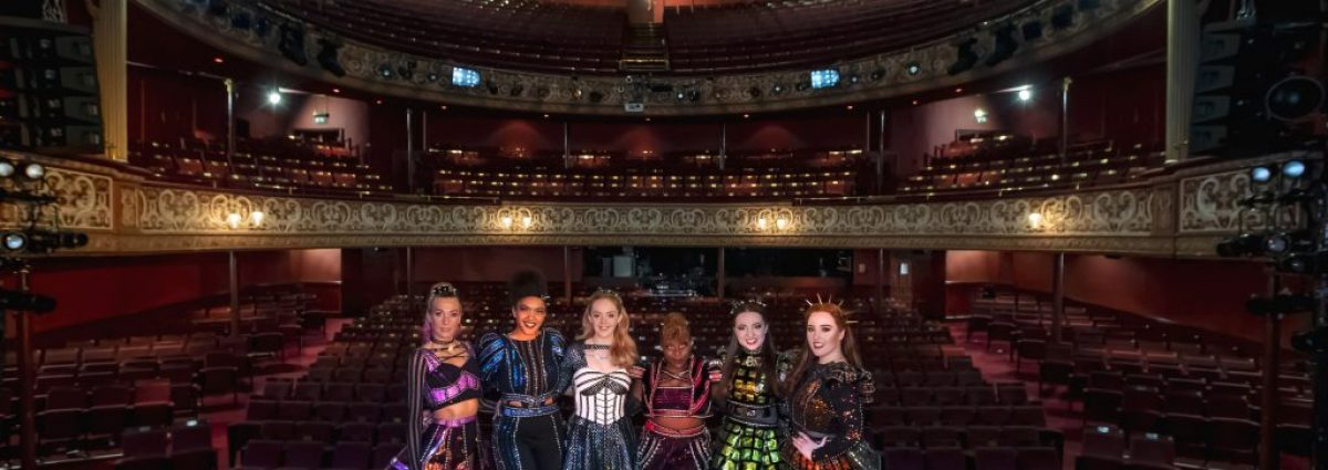 SIX - Jodie Steele, Athena Collins, Lauren Byrne, Shekinah McFarlane, Maddison Bulleyment and Harriet Watson at Wolverhampton Grand Theatre - Photo by Jonathan Hipkiss