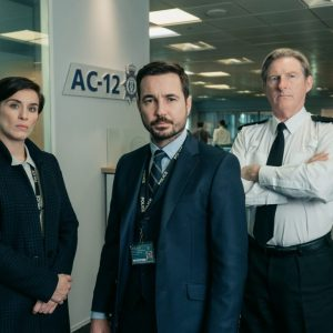 Line of Duty - Kate (VICKY MCCLURE), Steve (MARTIN COMPSTON), Hastings (ADRIAN DUNBAR) - (C) World Productions - Photo by Aiden Monaghan