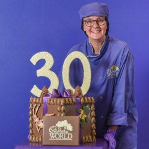 Cadbury World chocolatier Dawn Jenks unveils attraction's anniversary chocolate creation