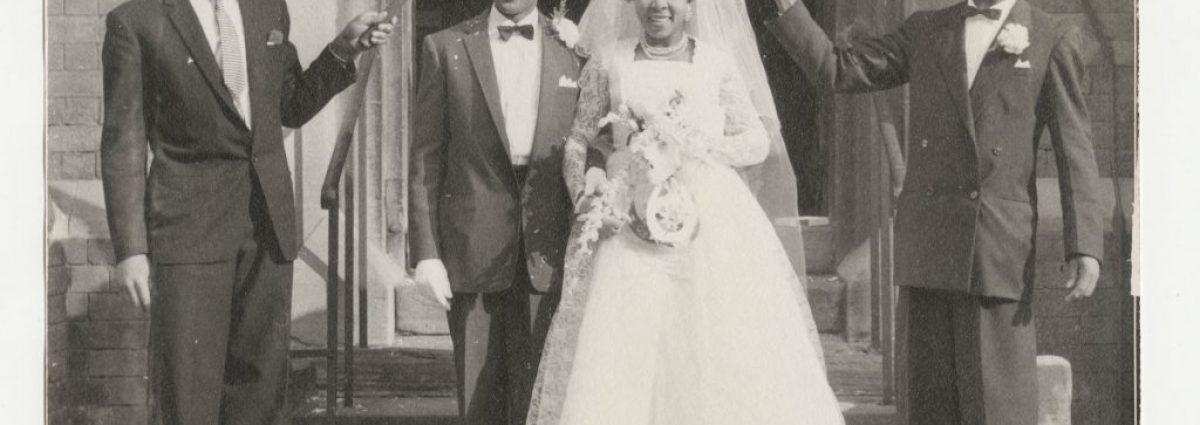 Wedding Photograph Kenneth Mullin on right hand side, came to Britain 1957/8 Bride is Cynthia Cumberbatch. Groom is Leicester (Dyche Collection, Reproduced by permission of the Library of Birmingham)