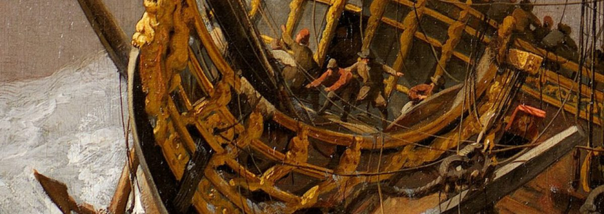 Close up view of The English Ship Hampton Court in a Gale, c.1680. By Willem van de Velde the Younger