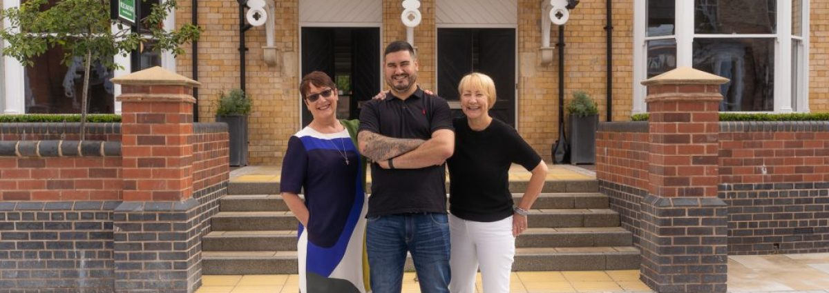 Chapter with Irene Allan, Ben Ternent and Ann Tonks outside the forthcoming restaurant