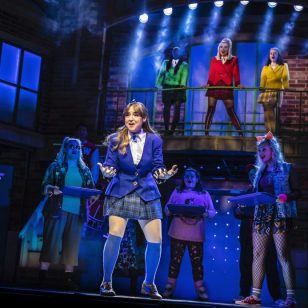 Rebecca Wickes (Veronica) with the cast of Heathers The Musical - UK Tour 2021 - Photos by Pamela Raith