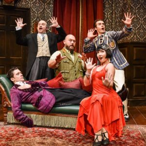 Seán Carey (Jonathan), Edward Howells (Dennis), Leonard Cook (Robert), April Hughes (Sandra) & Tom Babbage (Max). Photo by Robert Day.
