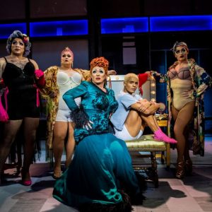 Shane Richie (Loco Chanelle), Layton Williams (Jamie New) and the Drag Queens in the Everybody's Talking About Jamie Tour. Photo by Matt Crockett