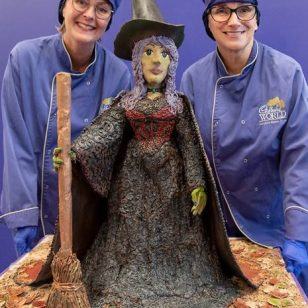 Picture caption: Cadbury World chocolatiers, Dawn Jenks and Donna Oluban, pose with the terrifyingly tasty Halloween creation